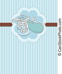 błękitny, niemowlę, miejsce, obuwie, karta