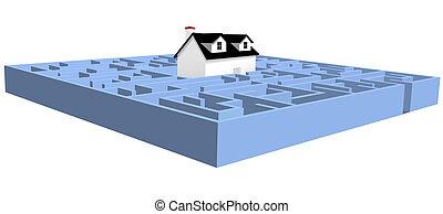 błękitny, nieruchomość, dom, zagadka, zdezorientować, dom