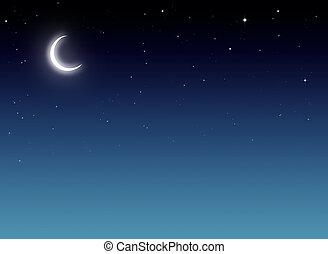 błękitny, nightly, tło, niebo