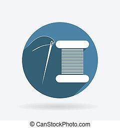 błękitny, nitka, needle., szpulka, koło, shadow., ikona