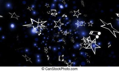 błękitny, notatki, muzyka, pętla, gwiazdy