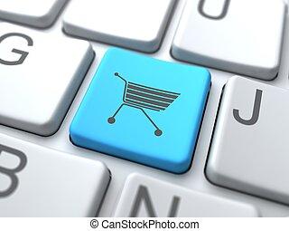 błękitny, now-, kupować, media, guzik, towarzyski, keyboard., concept.