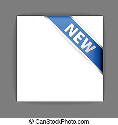 błękitny, nowy, róg, wstążka