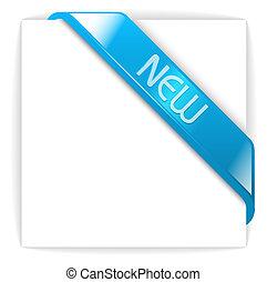 błękitny, nowy, szklisty, wstążka, róg