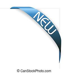 błękitny, nowy, wstążka, róg