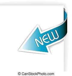 błękitny, nowy, wstążka, strzała, róg