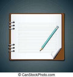 błękitny, ołówek, nuta, pamiętnik, książka