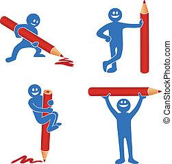 błękitny, ołówek, wtykać figurę, czerwony