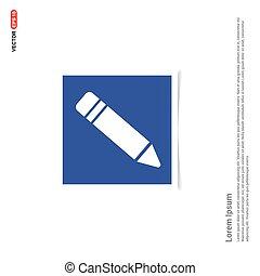 błękitny, ołówek, zdejmować budowę, -, ikona
