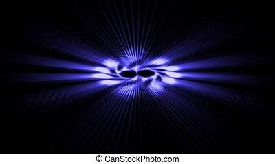 błękitny, obracać, laser, moc, energia, space., pole, promienie