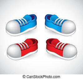 błękitny, obuwie, czerwony