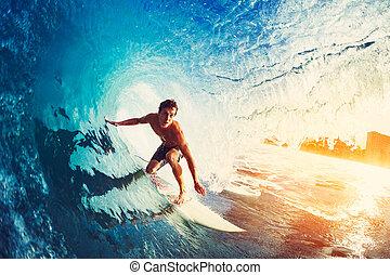 błękitny ocean, surfer, machać