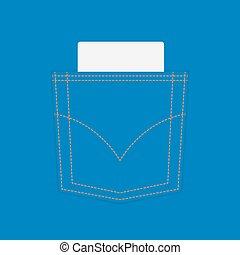 błękitny, odcinek, kieszeń, dżinsy, czysty
