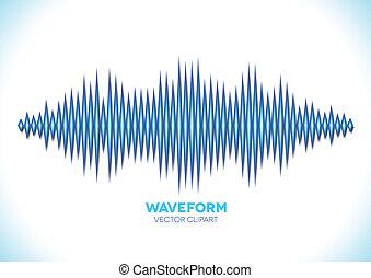 błękitny, odgłos, waveform