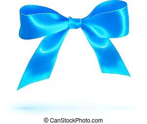błękitny, odizolowany, łuk, połyskujący, biały, jedwab