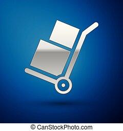 błękitny, odizolowany, ilustracja, ręka, tło., kabiny, wektor, wózek, laleczka, srebro, symbol., ikona