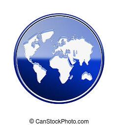 błękitny, odizolowany, połyskujący, tło, świat, biały, ikona