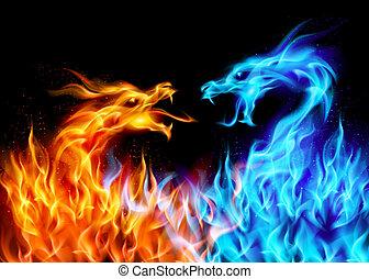 błękitny, ogień, czerwony, smoki