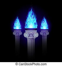 błękitny, ogień, kolumny