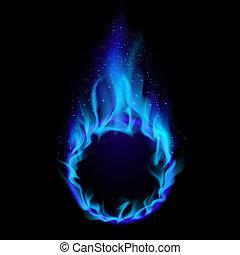błękitny, ogień, ring