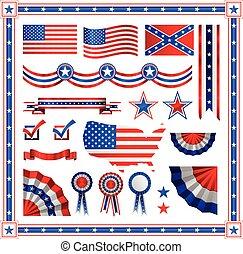 błękitny, okrągły, etykiety, chorągwie, próbka, barwa, bandera, pasy, amerykanka, wieńce, czerwony, gwiazdy, patriotyczny, symbole, tarcze, elementy
