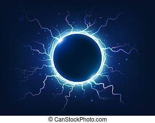 błękitny, otoczony, elektryczny, popisowy, grzmot, energia, błyskawice, otaczać, piorun, moc, kula, wektor, elektryczny, tło, ball.