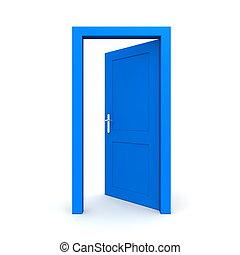 błękitny, otwarty, jednorazowy, drzwi