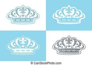 błękitny, ozdoba, tiara