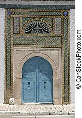 błękitny, północ, drzwi, -, architektura, upiększenia, afrykanin
