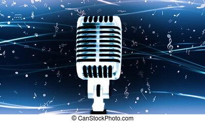 błękitny, pętla, mic, muzyka