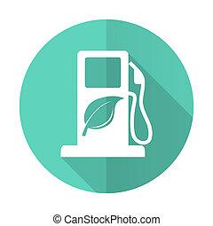błękitny, płaski, cień, biofuel, długi, tło, biały, ikona,...