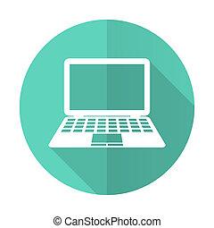 błękitny, płaski, cień, desgn, długi, komputer, tło, biały okrążają, ikona