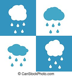 błękitny, płaski, ikony, tło, biały, krople, chmura