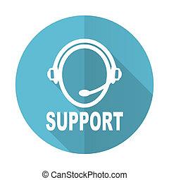 błękitny, płaski, poparcie, ikona