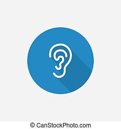 błękitny, płaski, prosty, długi, cień, ucho, ikona