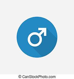błękitny, płaski, prosty, symbol, długi, cień, samiec, ikona