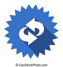 błękitny, płaski, ruch obrotowy, ikona