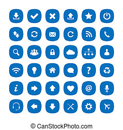 błękitny, płaski, skwer, zaokrąglony, ikony