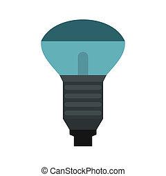 błękitny, płaski, styl, lekki, lampa ikona