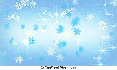 błękitny, płatki śniegu, świąteczny, tło, loopable, gwiazdy
