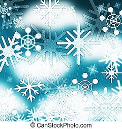 błękitny, płatki śniegu, tło, środki, mrożony, niebo, i,...