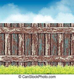 błękitny, płot, drewniany, niebo, zielona trawa