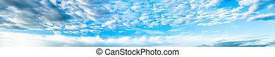 błękitny, panorama, biały zasępia, niebo
