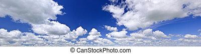 błękitny, panorama, niebo, pochmurny