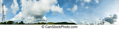 błękitny, panorama, niebo
