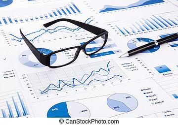 błękitny, paperwork, handlowy, wykresy, wykresy, dokument