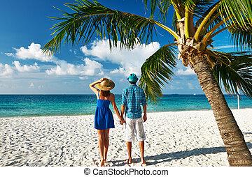 błękitny, para, malediwy, plaża, odzież