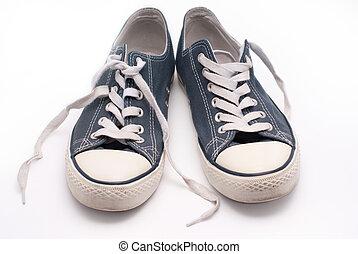 błękitny, para, pieszy, stary, obuwie