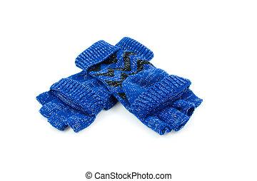 błękitny, para, rękawiczki, palec, wolny