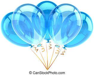 błękitny, partia, piątka, cyan, balony